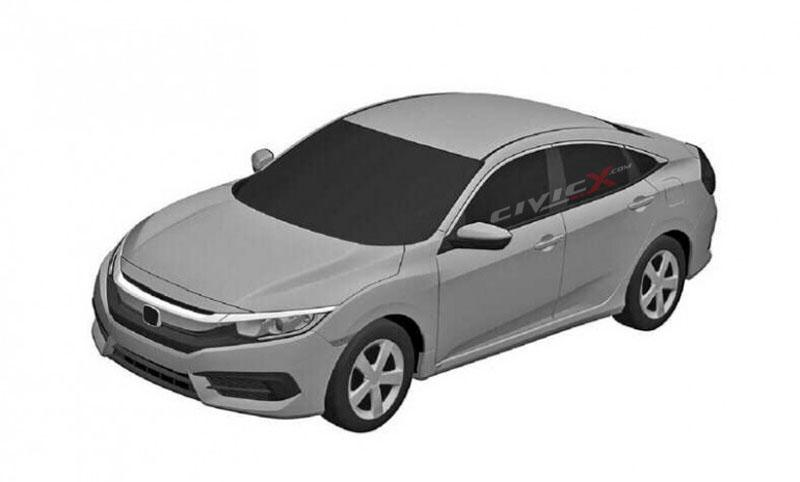 2016 Honda Civic top three quarter patent sketch leak