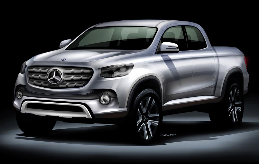 Mercedes-Benz utility truck teaser sketch front three quarter