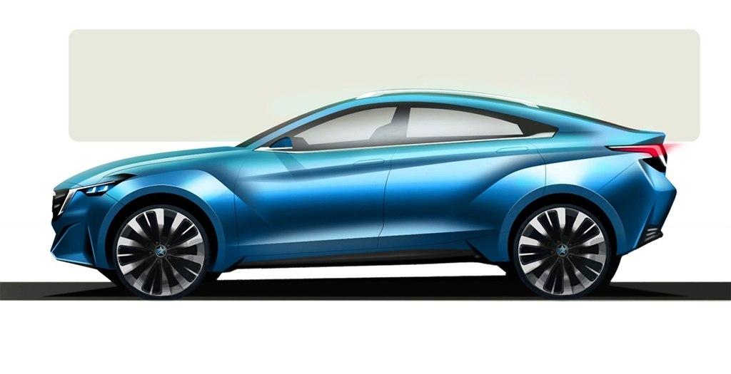 Nissan Venucia four-door coupe concept side Auto Shanghai 2015