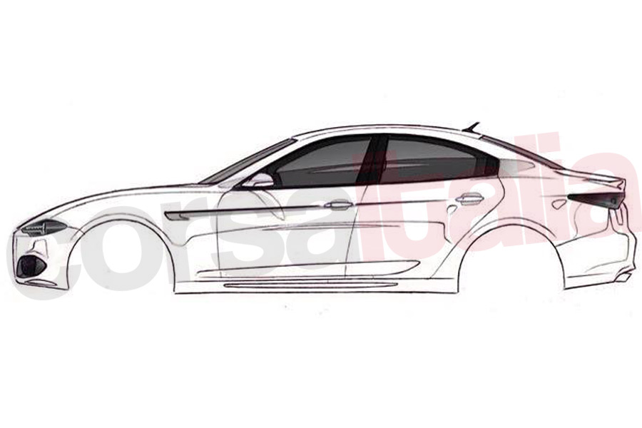 2016 Alfa Romea Giulia side view unofficial sketch