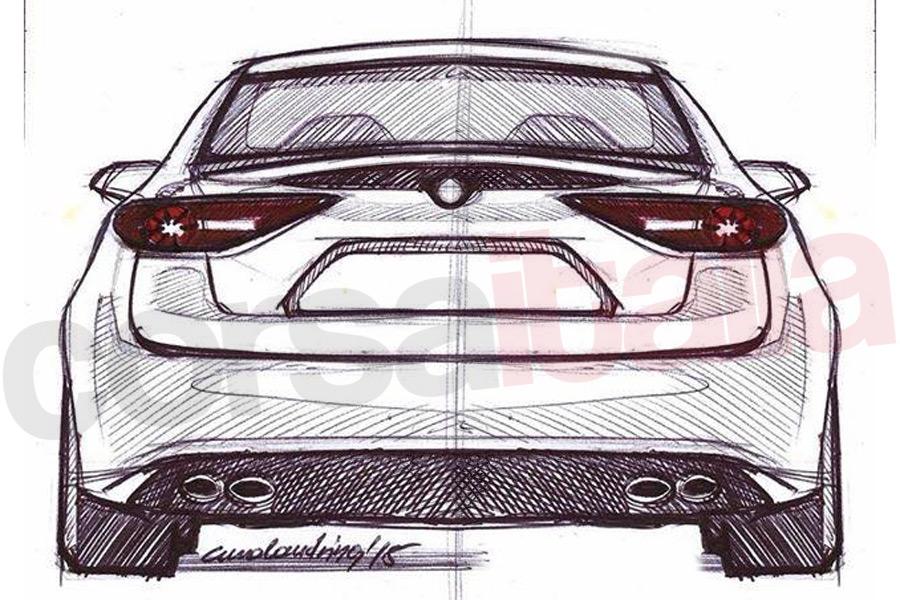2016 Alfa Romeo Giulia rear unofficial sketch