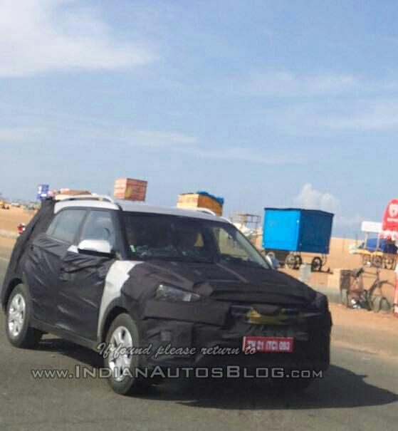 Hyundai ix25 spied in Marina beach Chennai