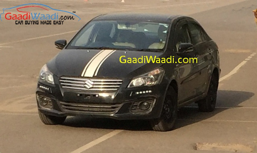 Maruti Ciaz with DRL and hood decal spied