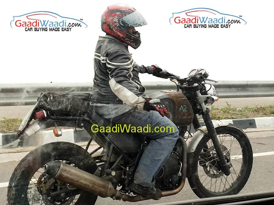 Royal Enfield Himalayan side profile spied