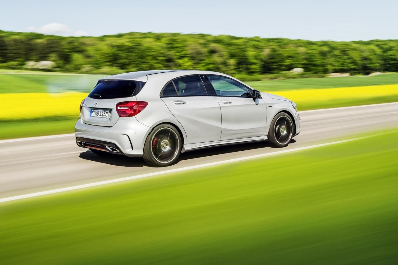 2016 Mercedes A Class AMG Line (facelift) rear three quarter revealed press image