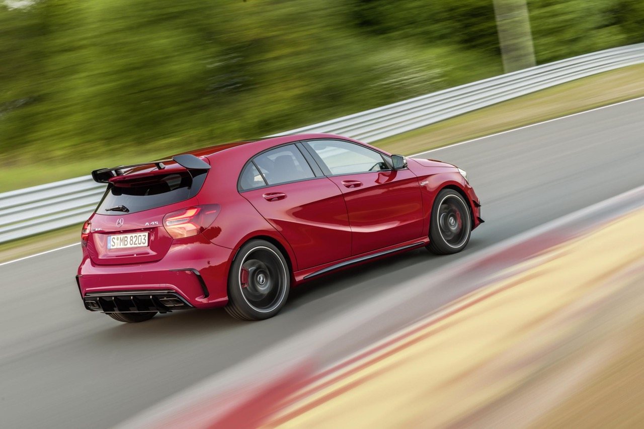 2016 Mercedes A45 AMG (facelift) revealed rear quarter press image