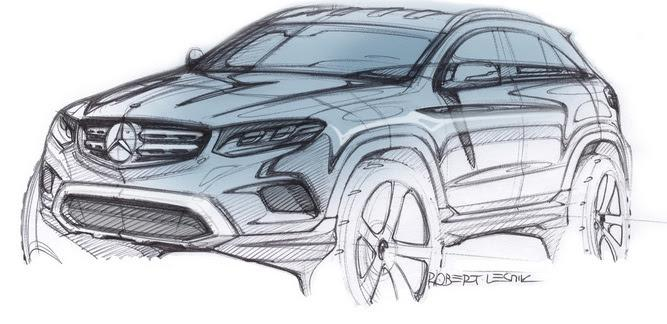 2016 Mercedes GLC front three quarter design sketch revealed