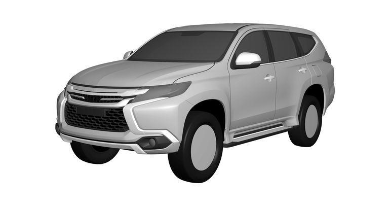 2016 Mitsubishi Pajero Sport front quarter patent leak