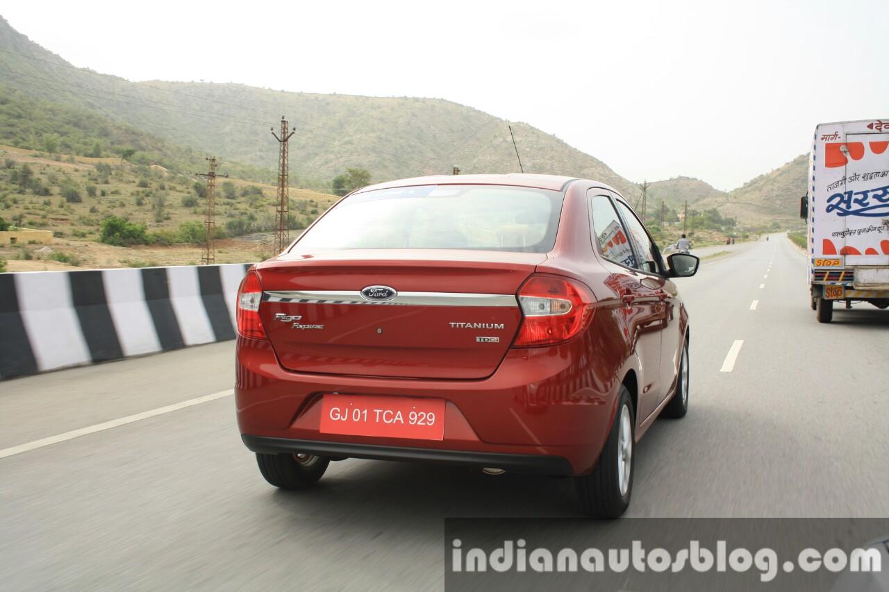 2015 Ford Figo Aspire Titanium 1.5 Diesel rear quarter tracking first drive review