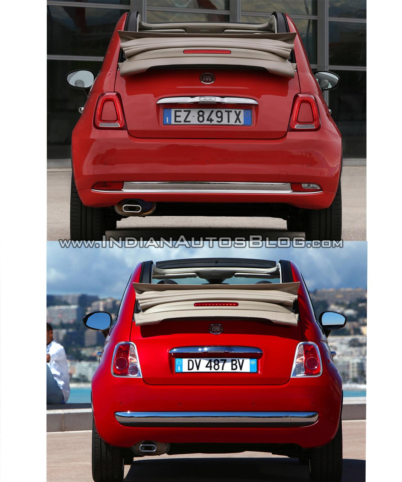 2016 Fiat 500 (facelift) vs 2007 Fiat 500 cabrio rear Old vs New