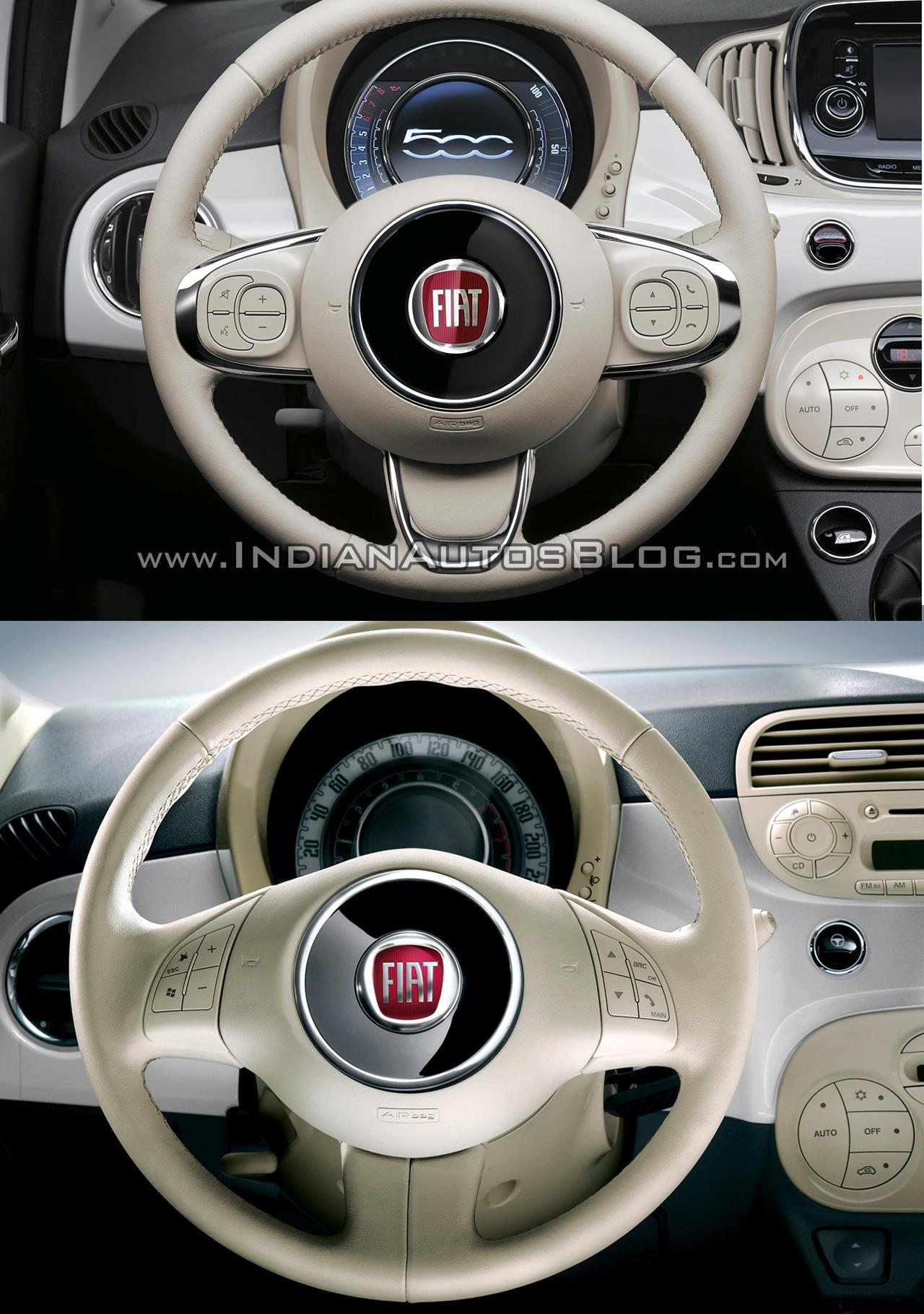 2016 Fiat 500 (facelift) vs 2007 Fiat 500 steering wheel Old vs New