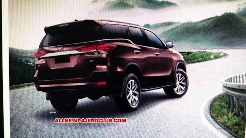 2016 Toyota Fortuner rear brochure leaked