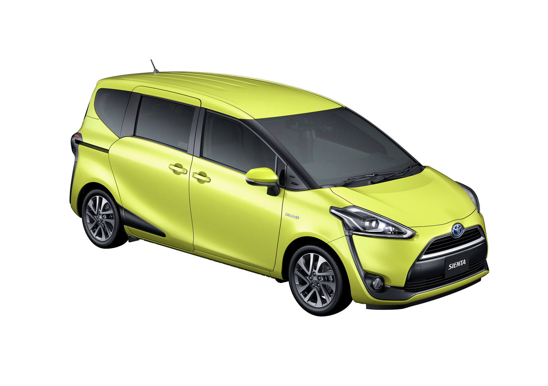 2016 Toyota Sienta front three quarter in air yellow unveiled in Japan