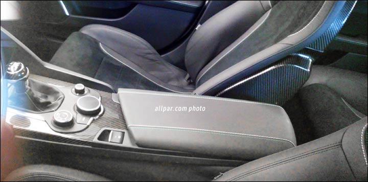 Alfa Romeo Giulia interior floor console front row spyshots re-surface