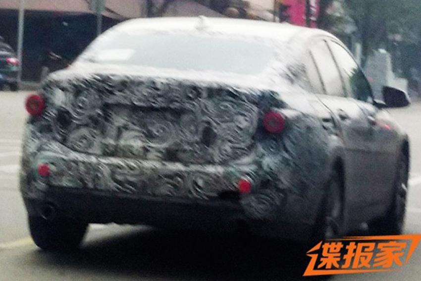 BMW 1 Series sedan rear quarter spyshots from China
