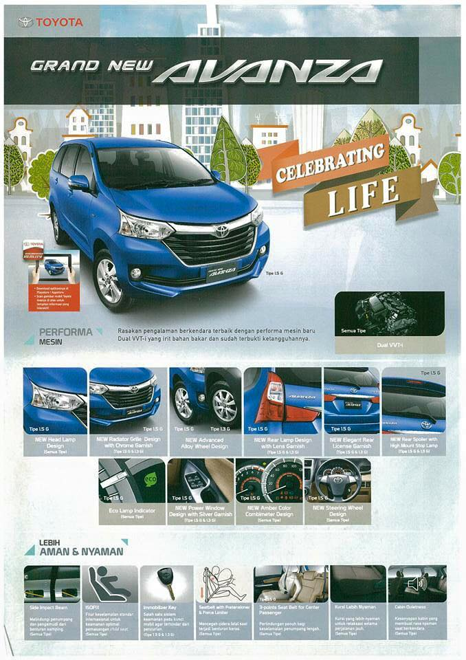 2015 Toyota Grand New Avanza summary of features