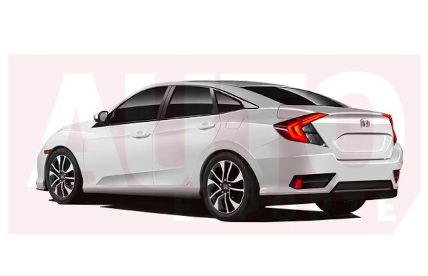 2016 Honda Civic rear three quarter rendering AutoEsporte