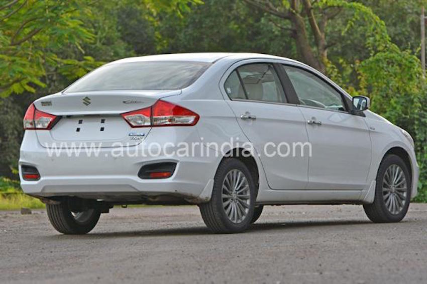 2016 Maruti Ciaz SHVS rear three quarter driving impressions