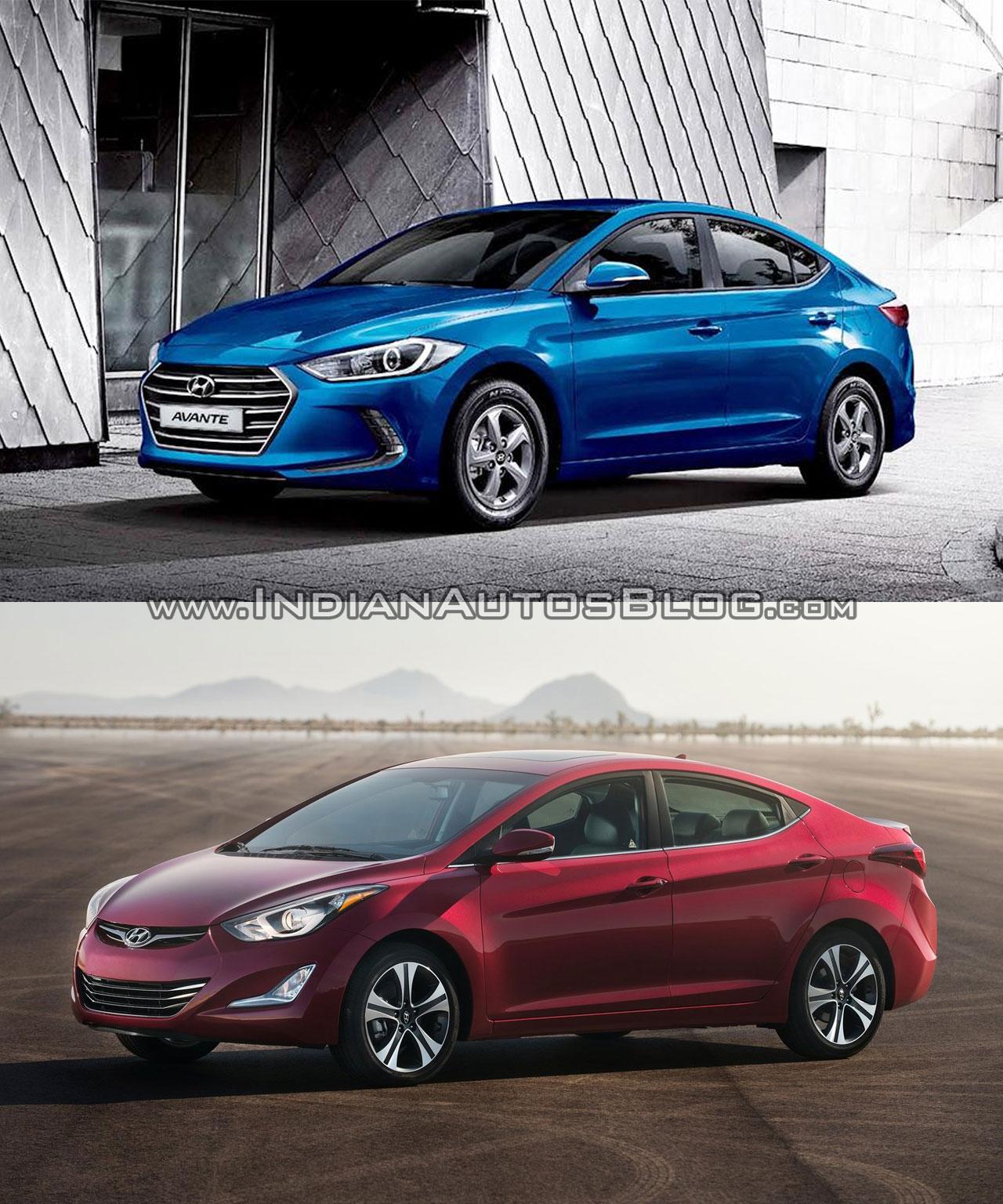 2016 Hyundai Elantra vs older model side