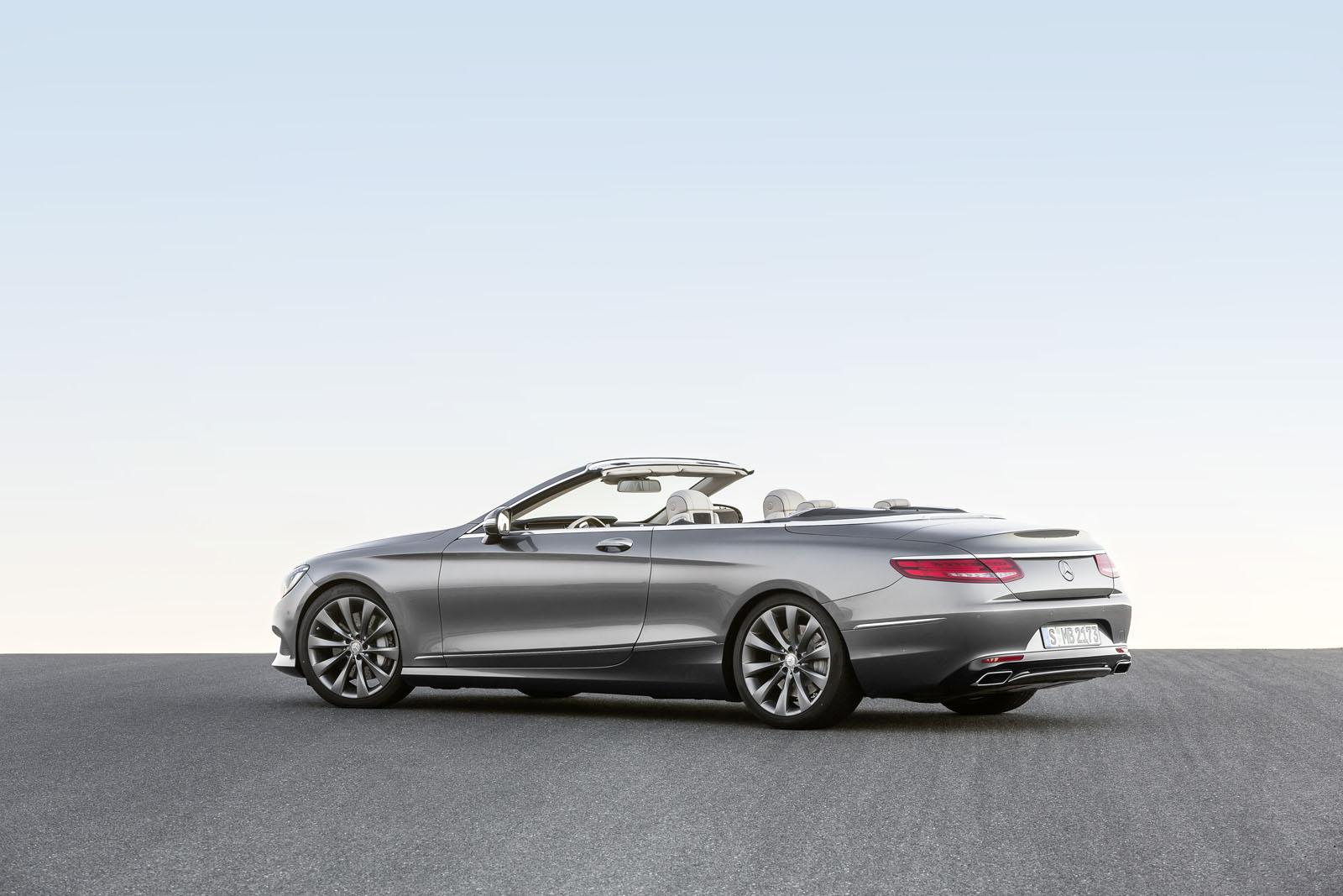 2016 Mercedes S Class Cabriolet rear three quarter with top down unveiled