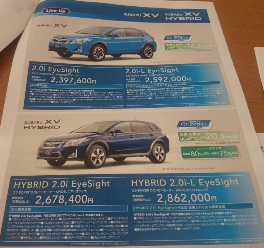 2016 Subaru XV (facelift) variants Japanese brochure leaked