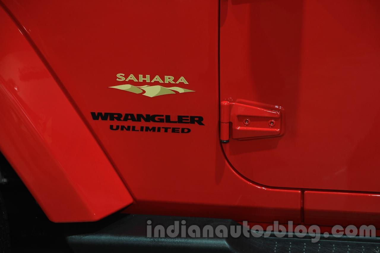 Jeep Wrangler Unlimited Sahara edition badge at the 2015 Chengdu Motor Show