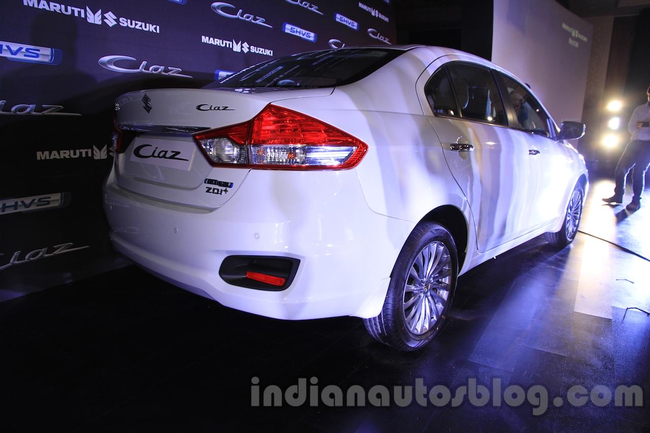 Maruti Ciaz SHVS rear three quarter launched in Delhi