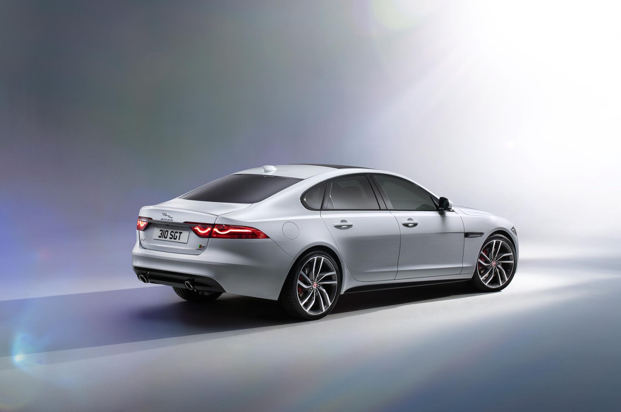 2016 Jaguar XF rear three quarter press shot