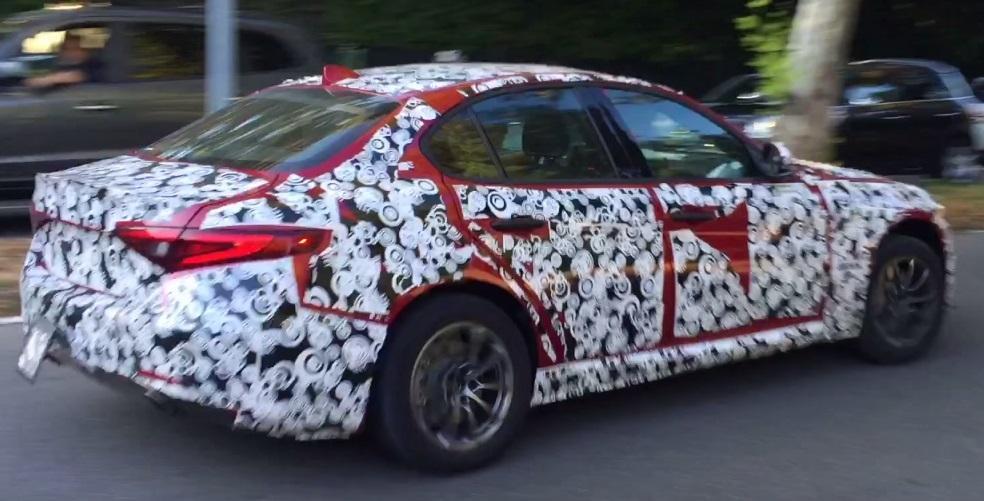 Alfa Romeo Giulia base-spec rear spotted testing