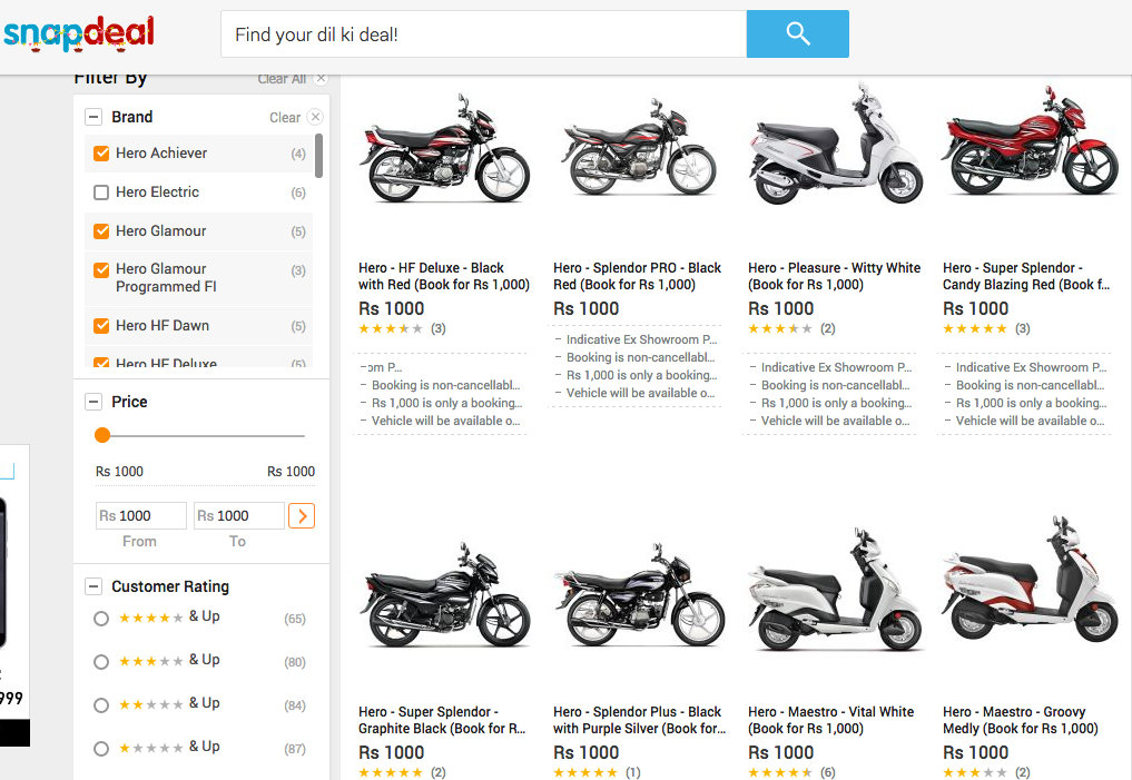 Buy Hero two wheelers on Snapdeal