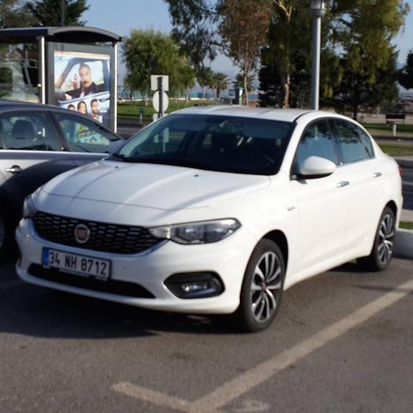 Fiat Egea front three quarter white spotted in the wild without disguise