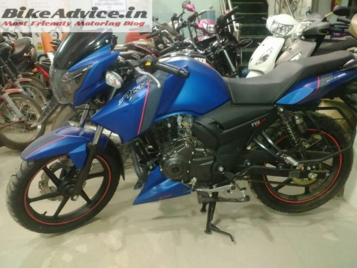TVS Apache RTR 160 matte blue spotted at a dealership
