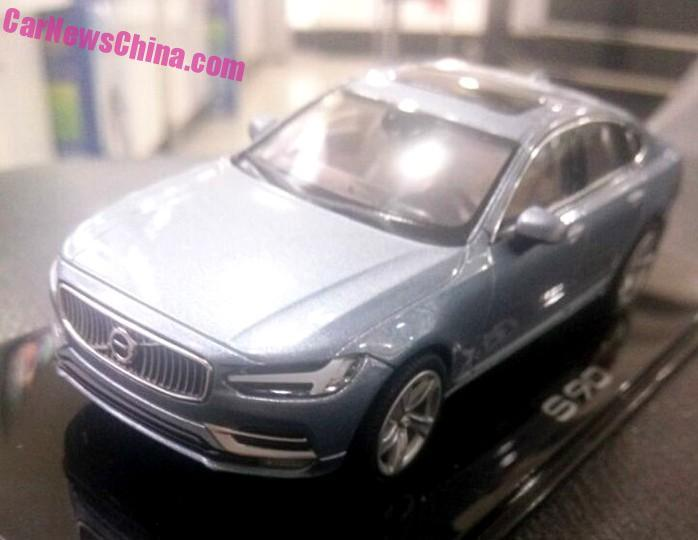 Volvo S90 front top view fully revealed via 1-43 scale model