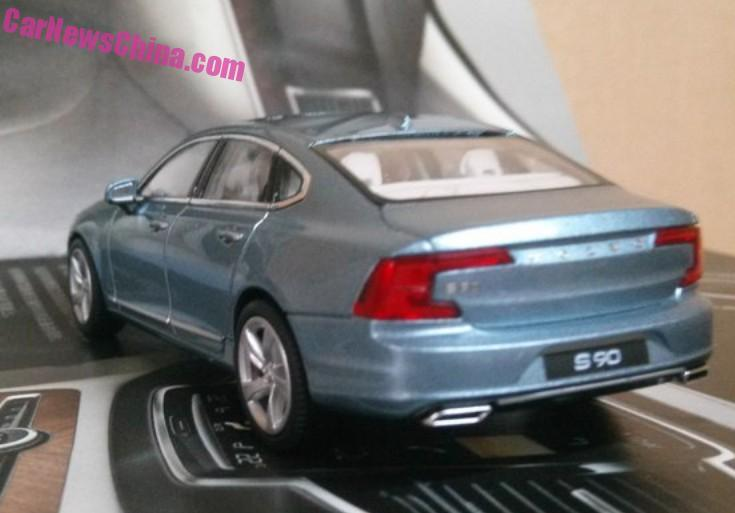 Volvo S90 rear three quarter fully revealed via 1-43 scale model