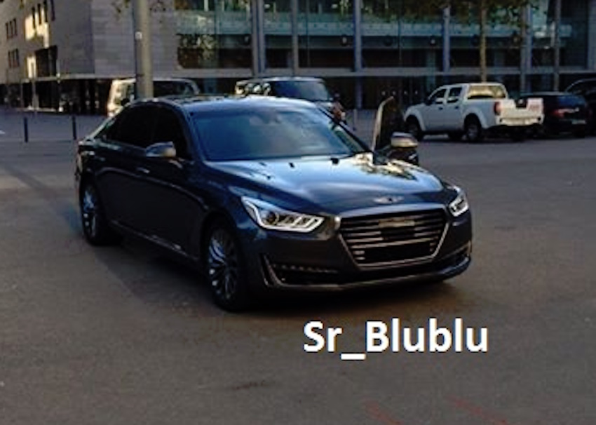Genesis EQ900 (Genesis G90) front three quarter spotted undisguised