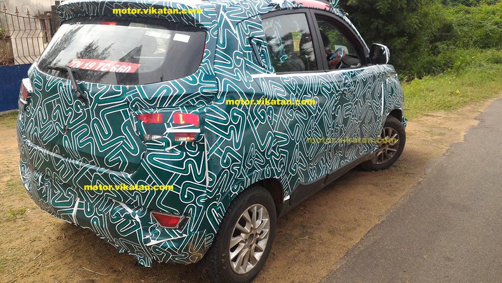 Mahindra S101 rear quarter spied with green camouflage