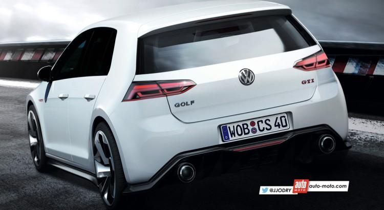 2017 VW Golf GTi rear three quarters rendering