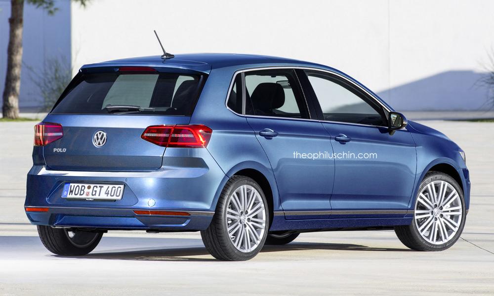 2018 VW Polo rear three quarters rendering