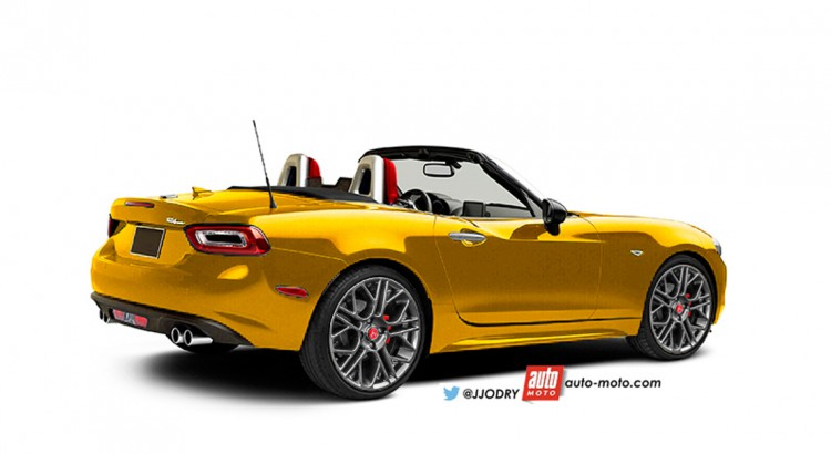 Fiat Abarth 124 Spider rear three quarters rendering