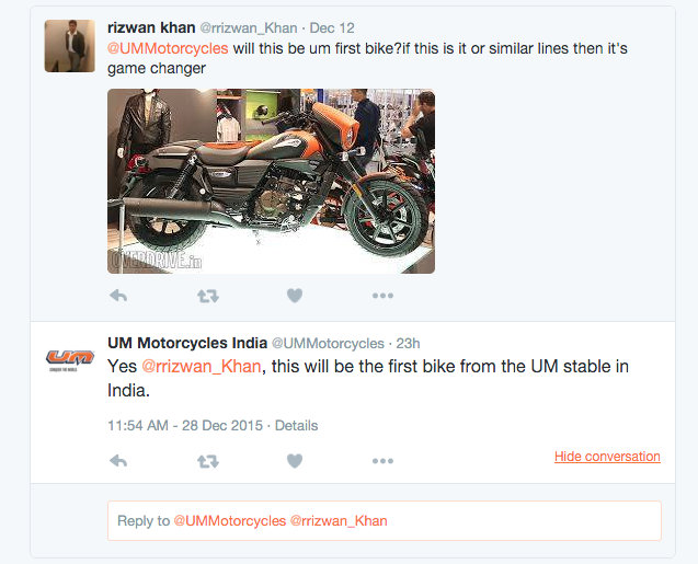 UM Motorcycles confirms Renegade Sport S for India via Twitter