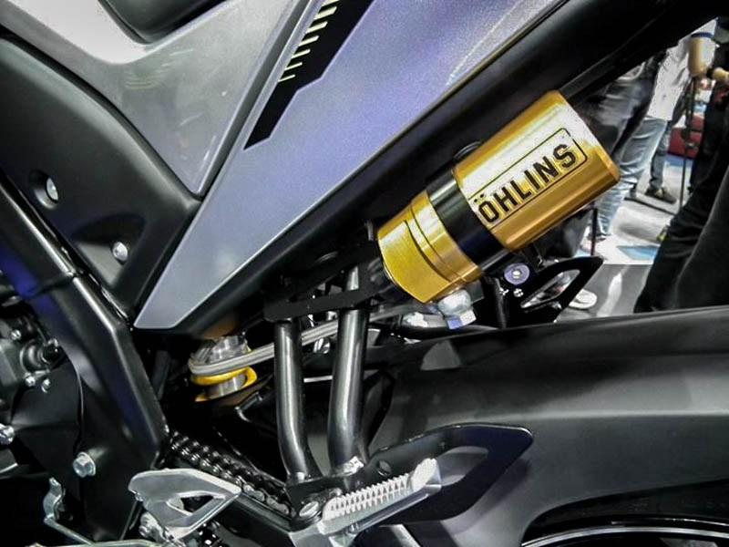 Yamaha M-Slaz's accessories, Ohlins shock absorber detailed