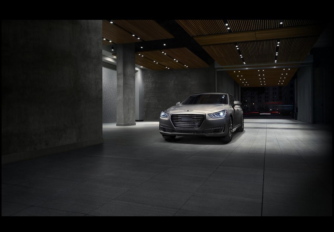 2017 Genesis G90 front three quarters