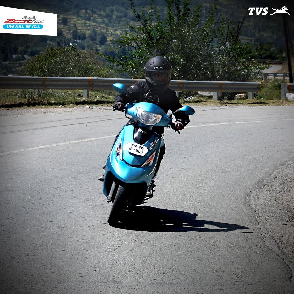 TVS Scooty Zest 110 on mountain roads