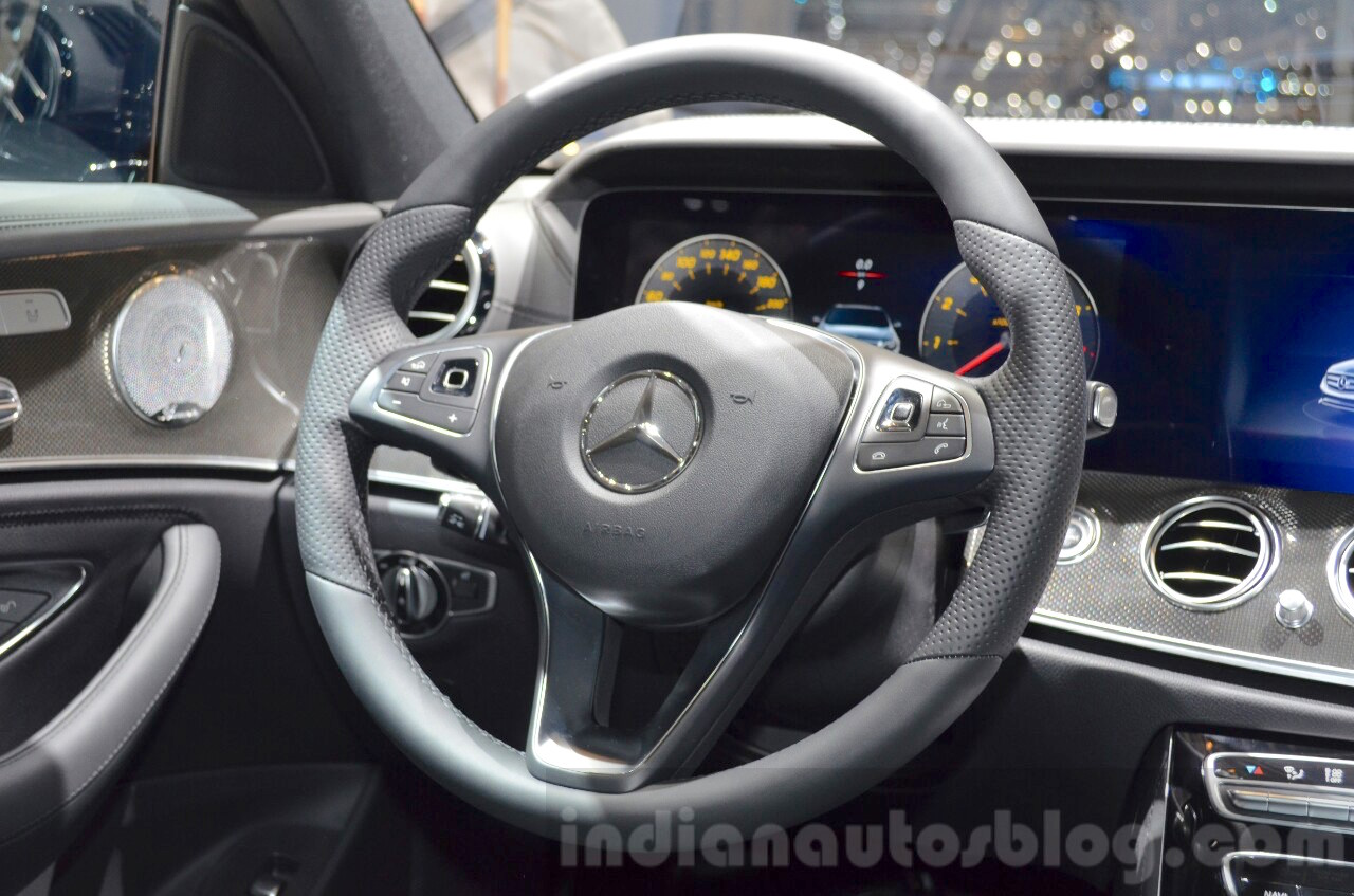 2016 Mercedes E Class (W213) steering wheel at the Geneva Motor Show Live