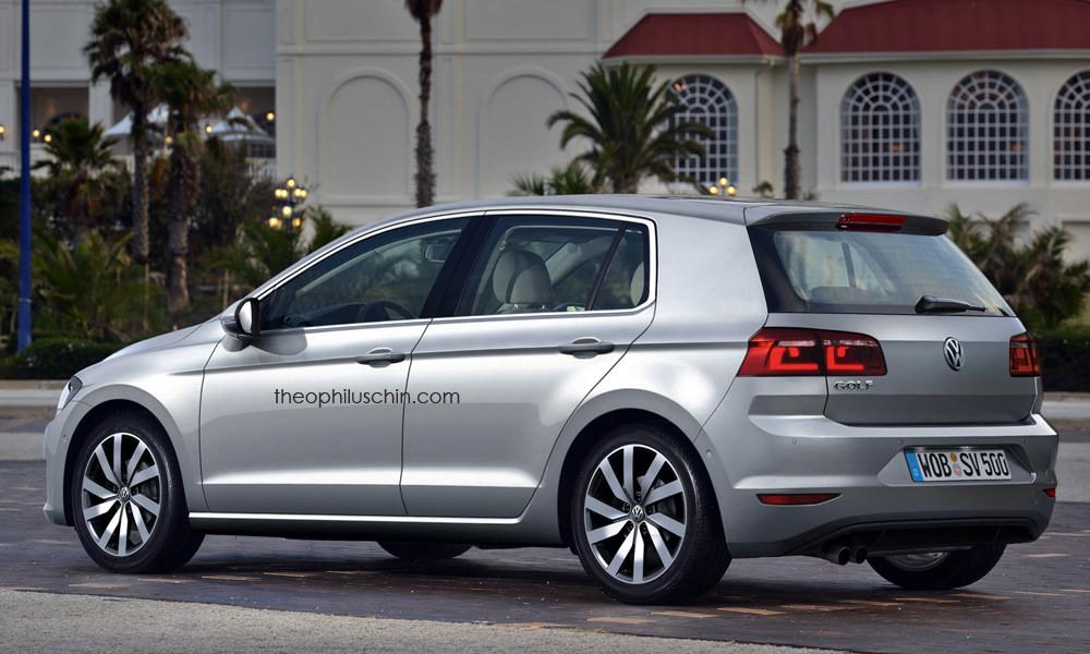 2016 VW Golf rear three quarters (rendering)