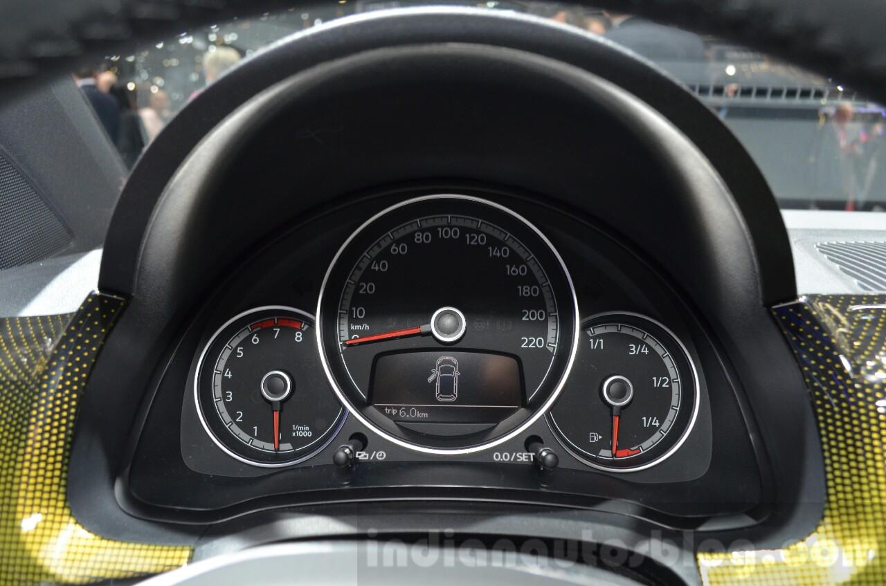 2016 VW Up! (facelift) instrument cluster at the 2016 Geneva Motor Show