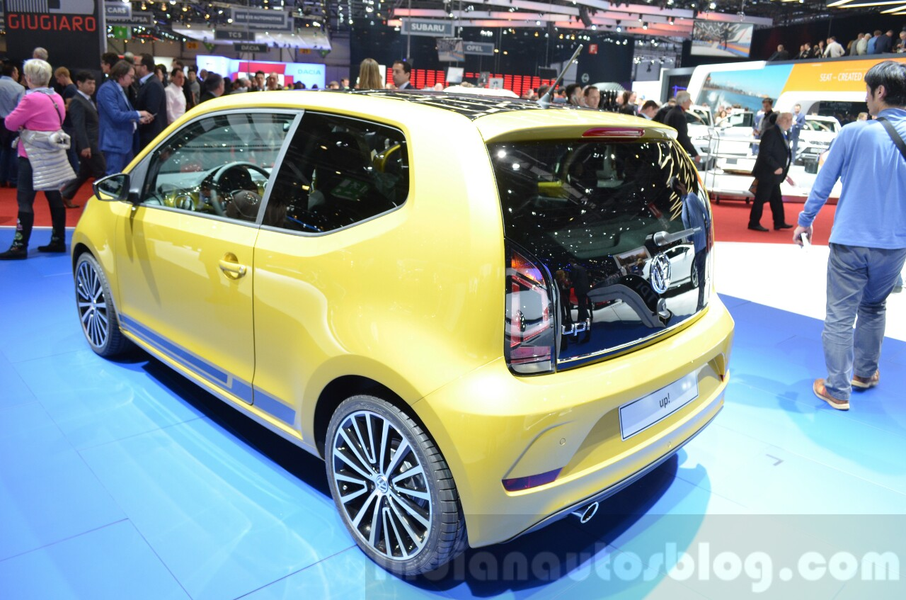 2016 VW Up! (facelift) rear three quarter at the 2016 Geneva Motor Show
