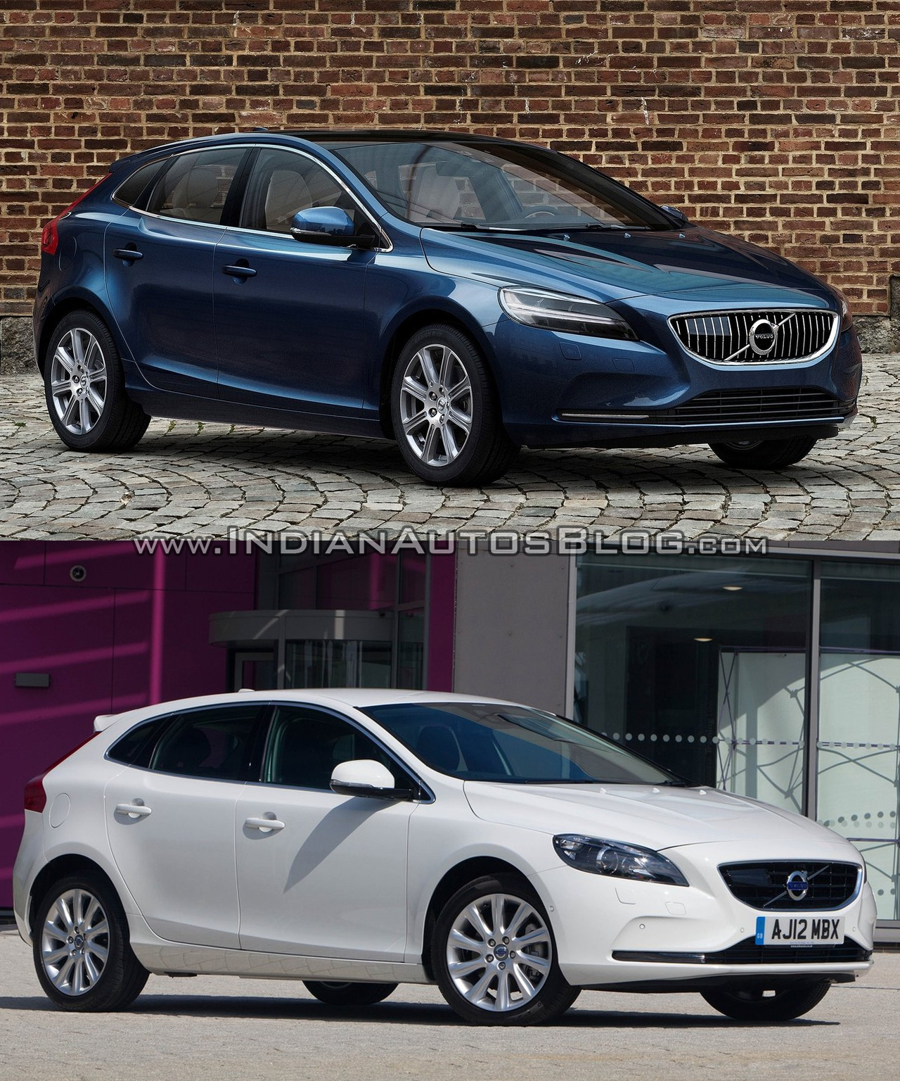 2016 Volvo V40 (facelift) front three quarters right side old vs. new