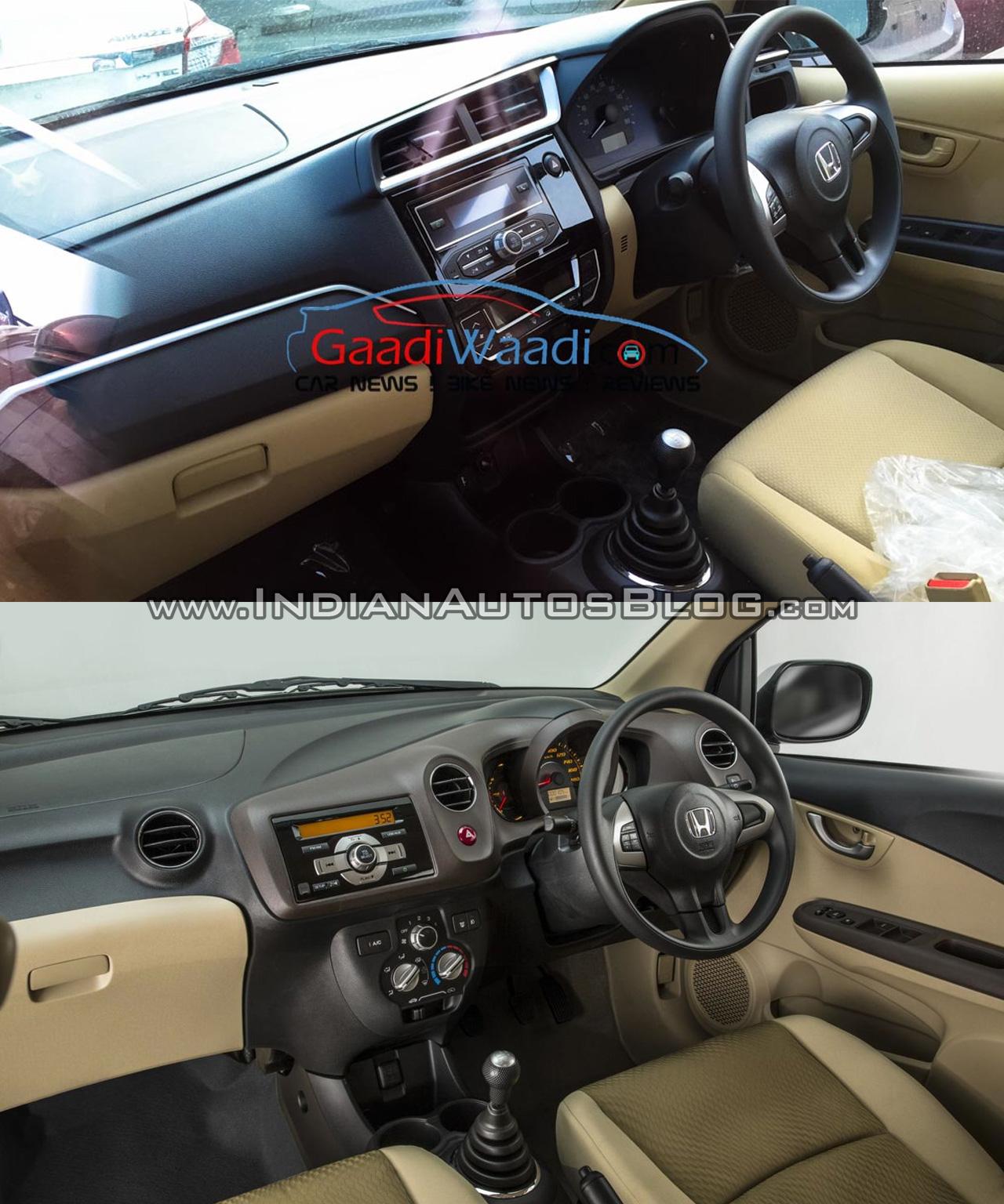Honda Amaze facelift vs current Honda Amaze dashboard