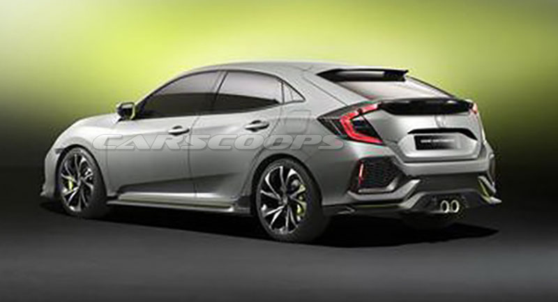 Honda Civic Hatchback Prototype concept rear three quarters leaked image